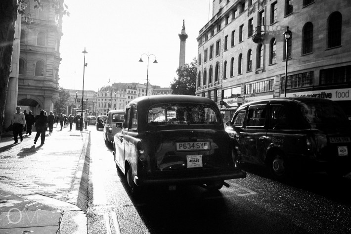 Taxi at Strand Street heading to Trafalgar Square