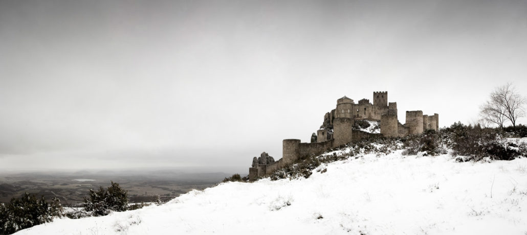Taking pictures in winter from Loarre Castle